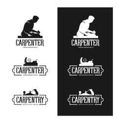 Carpentry vintage labels set Carpenter emblems vector image
