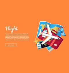 Flight conceptual flat style web banner vector