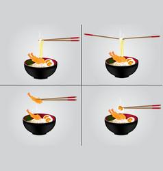 hot noodle background vector image