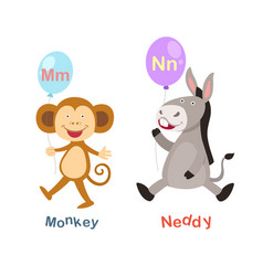 isolated alphabet letter m-monkeyn-neddy vector image