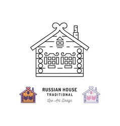 wooden home house of santa claus russian house vector image vector image