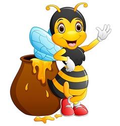 Cute bee cartoon waving vector image