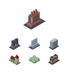 isometric construction set of tower house chapel vector image vector image
