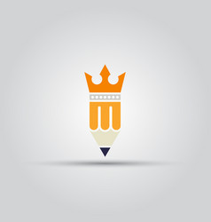 pencil with crown isolated colored icon vector image