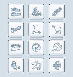 summer fitness icons - tech series vector image