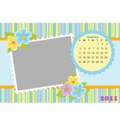 Babys calendar for september 2011 vector image vector image
