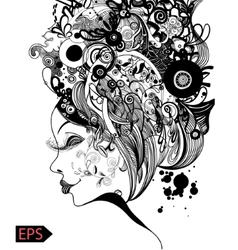 Beautiful fashion women with abstract and floral vector image vector image