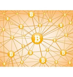 Bitcoin network yellow background vector