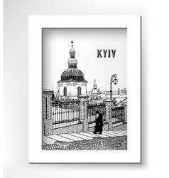 drawing of historical building landscape ukrainian vector image