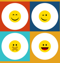 Flat icon face set of laugh winking smile and vector