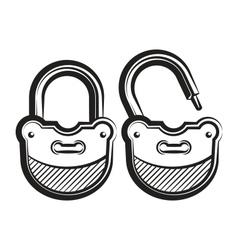 lock icon black and white vector image