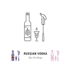 russian vodka bottle russian food and drink vector image
