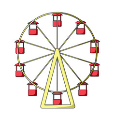 the wheel is in the amusement park slow vector image vector image