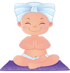 Yogi in meditation sitting in lotus position vector