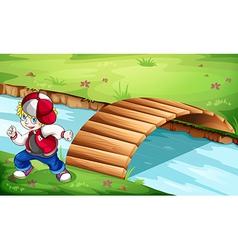 A hiphop dancer dancing near the wooden bridge vector image