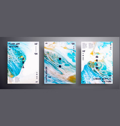 Abstract poster texture set fluid art vector