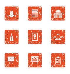Activity plan icons set grunge style vector