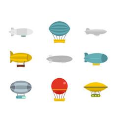 Airship icon set flat style vector