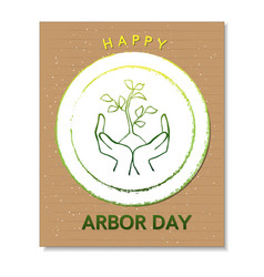 Arbor day card with hands and tree vector