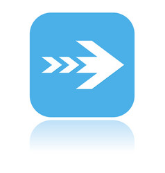 arrow icon square blue icon with reflection vector image