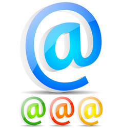 at symbols in 3d email communication support vector image