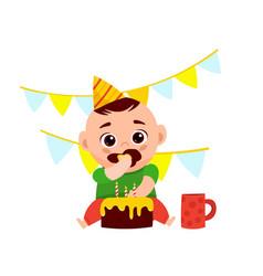 Baboy eating a cake vector
