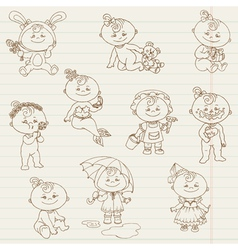 Baby Girl Cute Doodles vector image