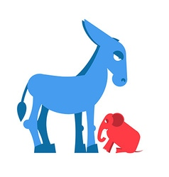 Big Blue Donkey and little red elephant symbols of vector image
