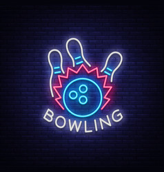 Bowling logo neon sign symbol bright vector