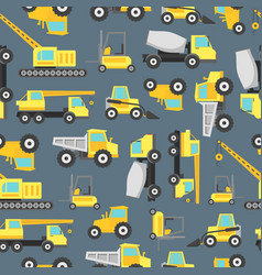 Cartoon construction machinery seamless pattern vector