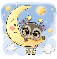 Cartoon owl girl on the moon vector