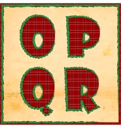 Christmas letters opqr vector image