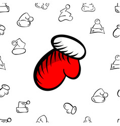 christmas mitten and hat pattern vector image