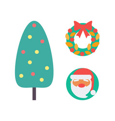 christmas tree and decoration wreath set vector image
