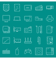 computer components and peripherals thin lines vector image