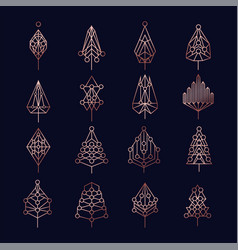copper christmas pine tree geometry icon set vector image