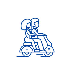 Couple in love riding a scooter line icon concept vector