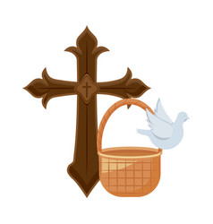 cross catholic with cute dove and wicker basket vector image
