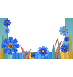 Cut paper floral banner with cornflowers vector