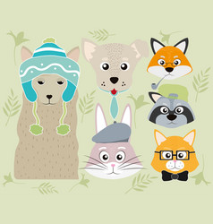 cute animals cartoons collection vector image