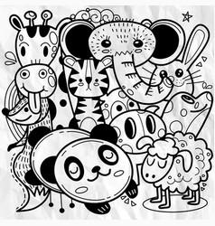 Cute cartoon sketch animals for t-shirt print vector
