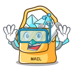 Diving the bag with shape mail cartoon vector