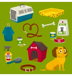 Dog care object set items and stuff cartoon food vector
