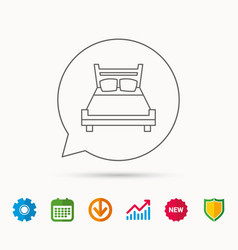 Double bed icon sleep symbol vector