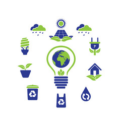 eco green logo icon symbol collection vector image