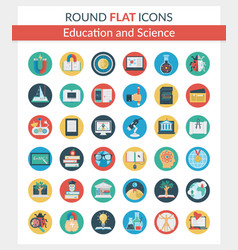 education and science round icons vector image