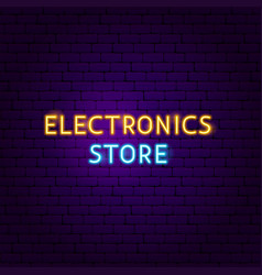 electronics store text neon label vector image