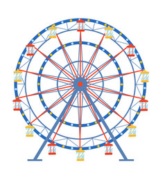 ferris wheel in a flat style on an isolated vector image