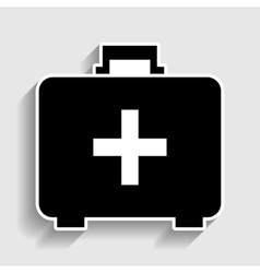 First aid box sign Sticker style icon vector