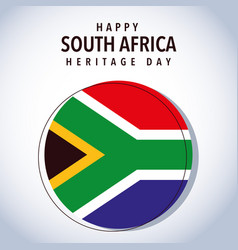 Flag south africa with happy south africa heritage vector